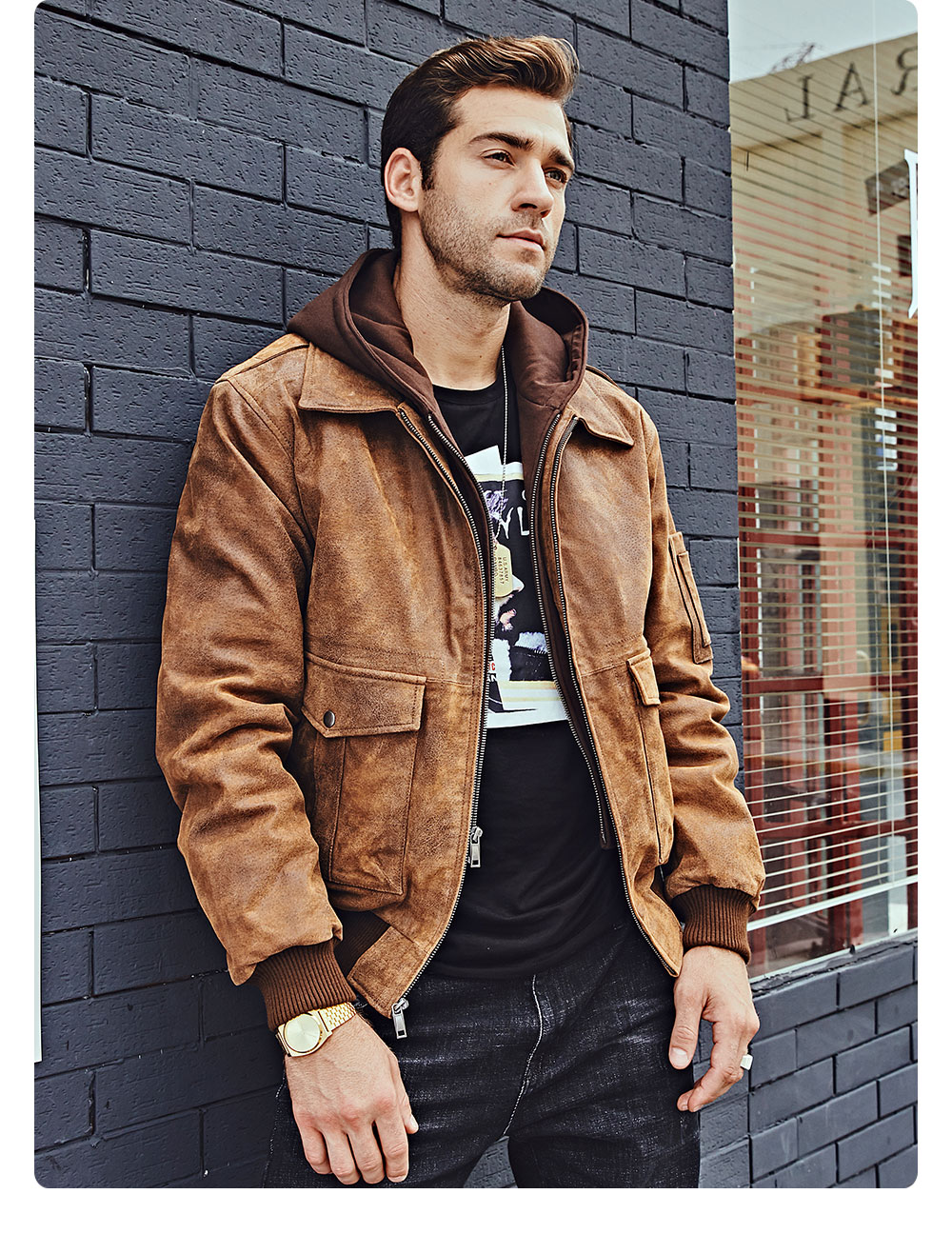 Hd8074e4c2aa84ec18b29dd8efaf9ace5h FLAVOR New Men's Genuine Leather Bomber Jackets Removable Hood Men Air Forca Aviator winter coat Men Warm Real Leather Jacket