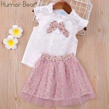 Humor bear/Одежда для маленьких девочек детский комплект модная