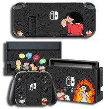 Crayon shin chan Skins koruyucu çıkartmalar Nintendo anahtarı NS konsolu için + denetleyici + standı etiket