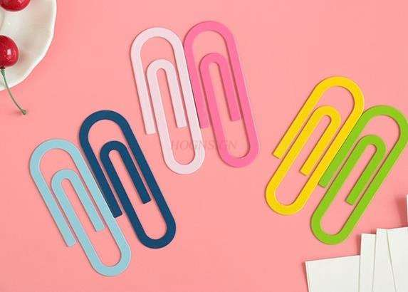 2pcs Iron Paper Clip Bookmark Creative Color Bookmark