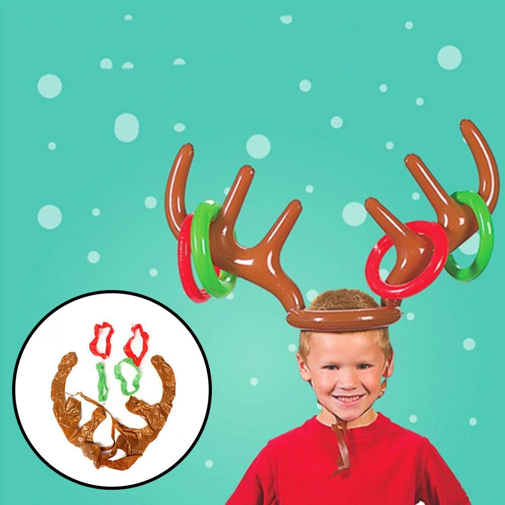 Christmas Inflatable Reindeer Antler Ring Toss Game Xmas Family Party Toys Reindeer Game Xmas Antler Christmas Antler Toy