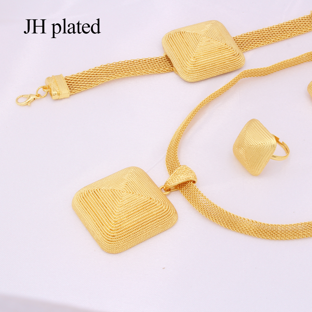 Dubai gold 24K Jewelry sets for women African bridal Wedding gifts party Necklace square earrings ring bracelet jewellery set 5