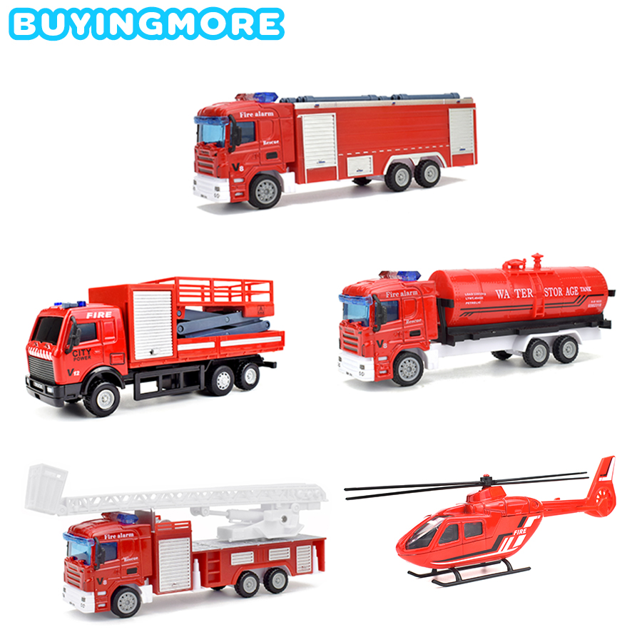 5 Kinds Fire Truck Alloy Diecast Simulation Model Car Toys For Children Pull Back Inertial Vehicle Helicopter Educational Toys