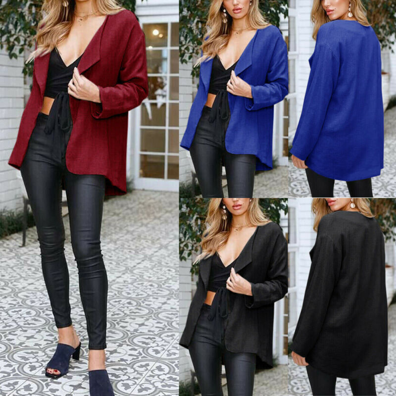 Womens Long Sleeve Loose Cardigan Casual Kimono Blouse Tops Coat Jacket Outwear