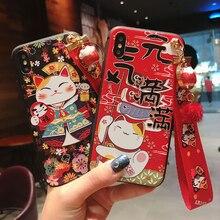יפן מזל חתול 3D הבלטה טלפון מקרה עבור Huawei P20 P30 P40 Mate 10 20 30 לייט פרו כבוד 8X 9 10 20 30Pro רך TPU חזרה עטיפות