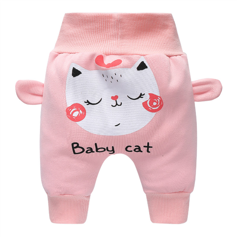 Casual Baby Children Pants Toddler Boys Girls Cute Cat Pink Trousers Costumes Long Cototn Infant Cartoon Panty Clothes
