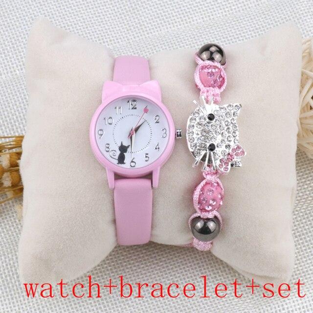 Moda feminina relógio de pulso pulseira conjunto crianças relógios pulseira de couro gato senhoras relógio presentes estudante relógios bonito dos desenhos animados relógio 2