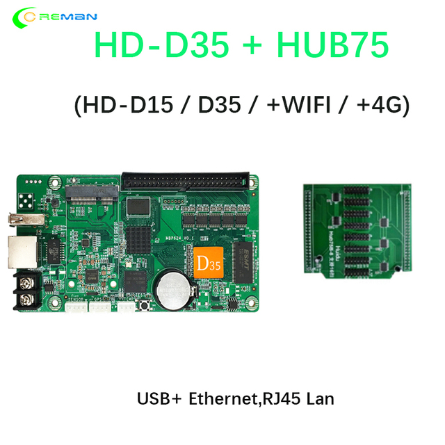 Best price Huidu HD D35 with HUB75 D15 taxi roof bus full color rgb led sign panel controller card with WIFI 4G wireless GPS