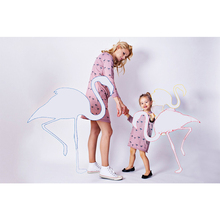 New Family Matching Clothes Mother and Daughter Print Flamingo Long Sleeve Pocket Dress O-neck Mom