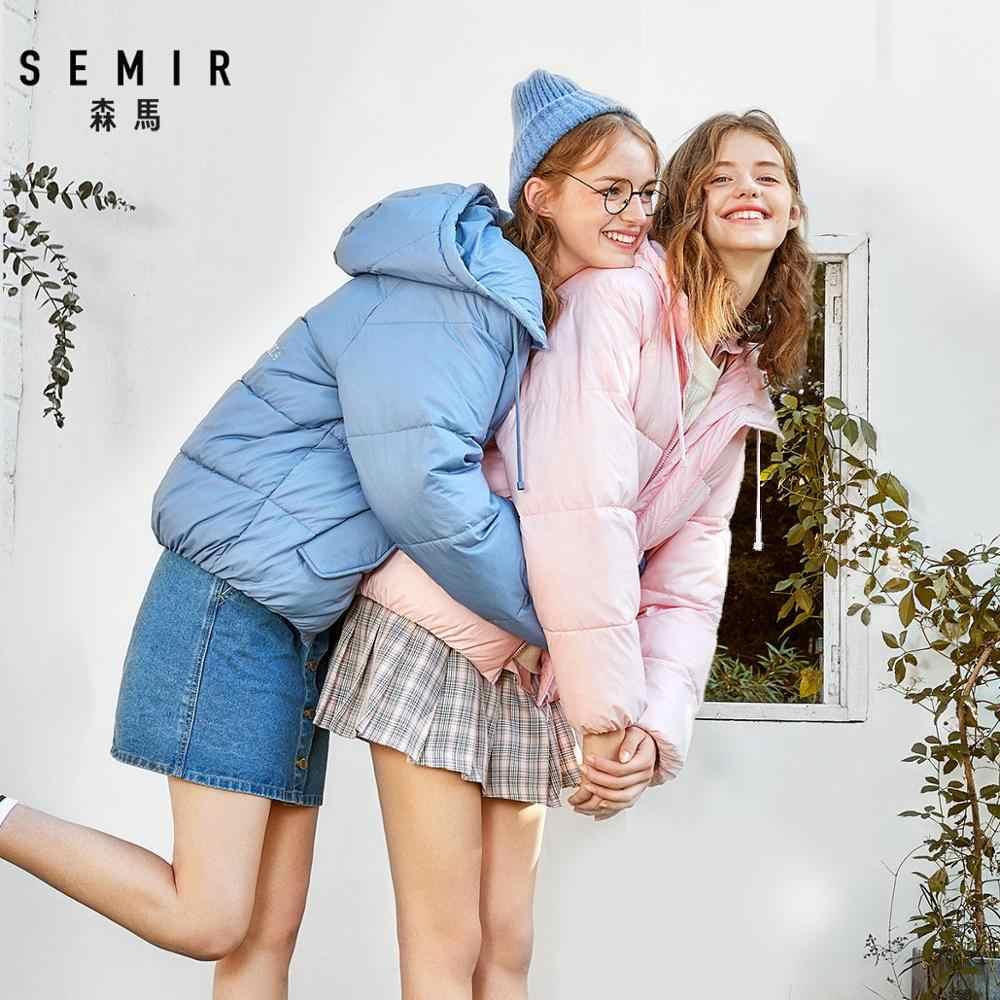 SEMIR 코 튼 코트 여성 2019 겨울 새로운 한국어 느슨한 코 튼 특대 빵 패션 의류 자 켓 후드 겨울 따뜻한 코트