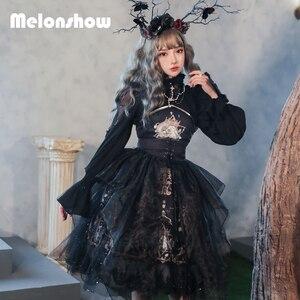 Женское винтажное платье в стиле Лолиты Melonshow, готическое платье в стиле Лолиты синего и черного цветов, летние женские платья Loli