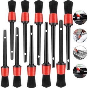 Image 1 - Cepillo para Interior de coche, herramienta de limpieza de rueda, detalle automotriz, emblema de ventilación de cuero