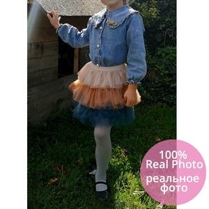 Image 3 - IYEAL 여자 의류 세트 2020 새로운 봄 아이 옷 긴 소매 데님 셔츠 + 투투 케이크 치마 2Pcs 어린이 유아 복장