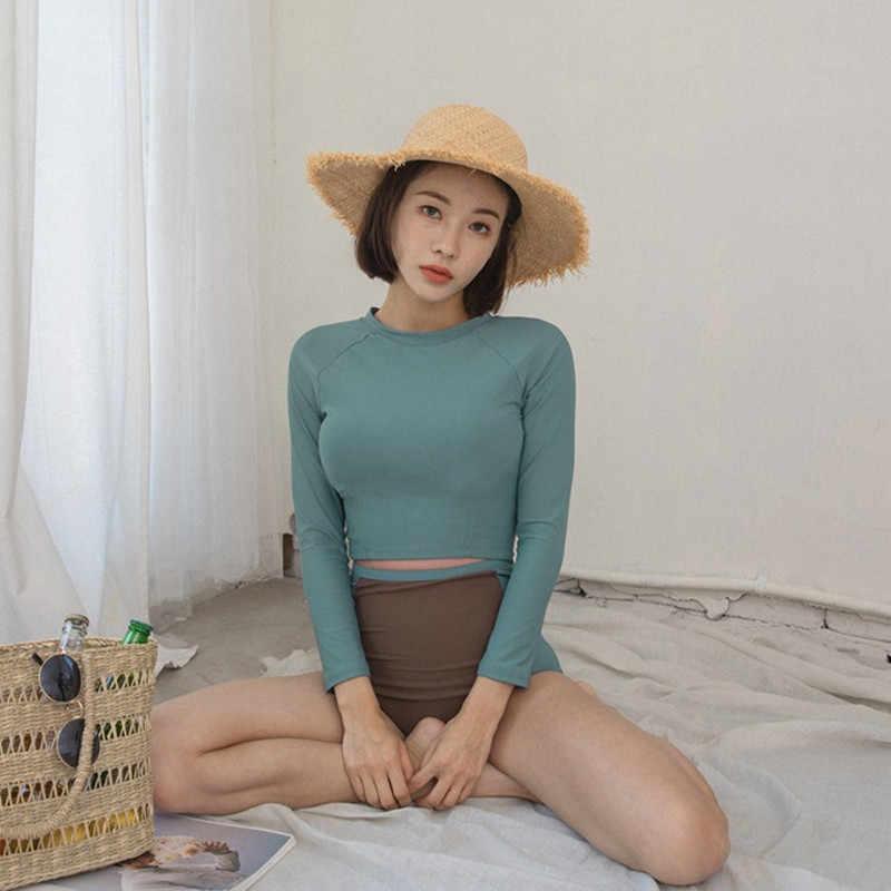 Maillot de bain coréen femmes à manches longues maillot de bain bikini sport anti-éruption 2 pièces maillot de bain femmes hit couleur sexy maillots de bain été