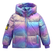 Girls colorful bright face down jacket winter new fashion Christmas Day party girl hooded bright white duck down coat