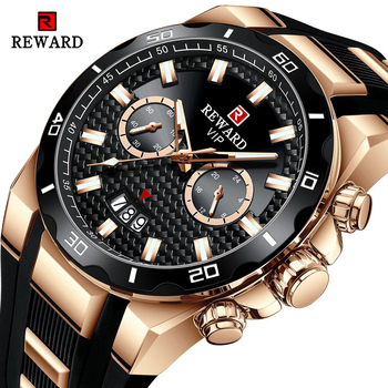 REWARD Fashion Big Dial Men's Watch Men Top Brand Luxury Chronograph Silicone Sport Quartz Watches Waterproof relogio Masculino reef tiger brand chronograph sport watches for men dial skeleton fashion design luminous swiss quartz watch relogio masculino