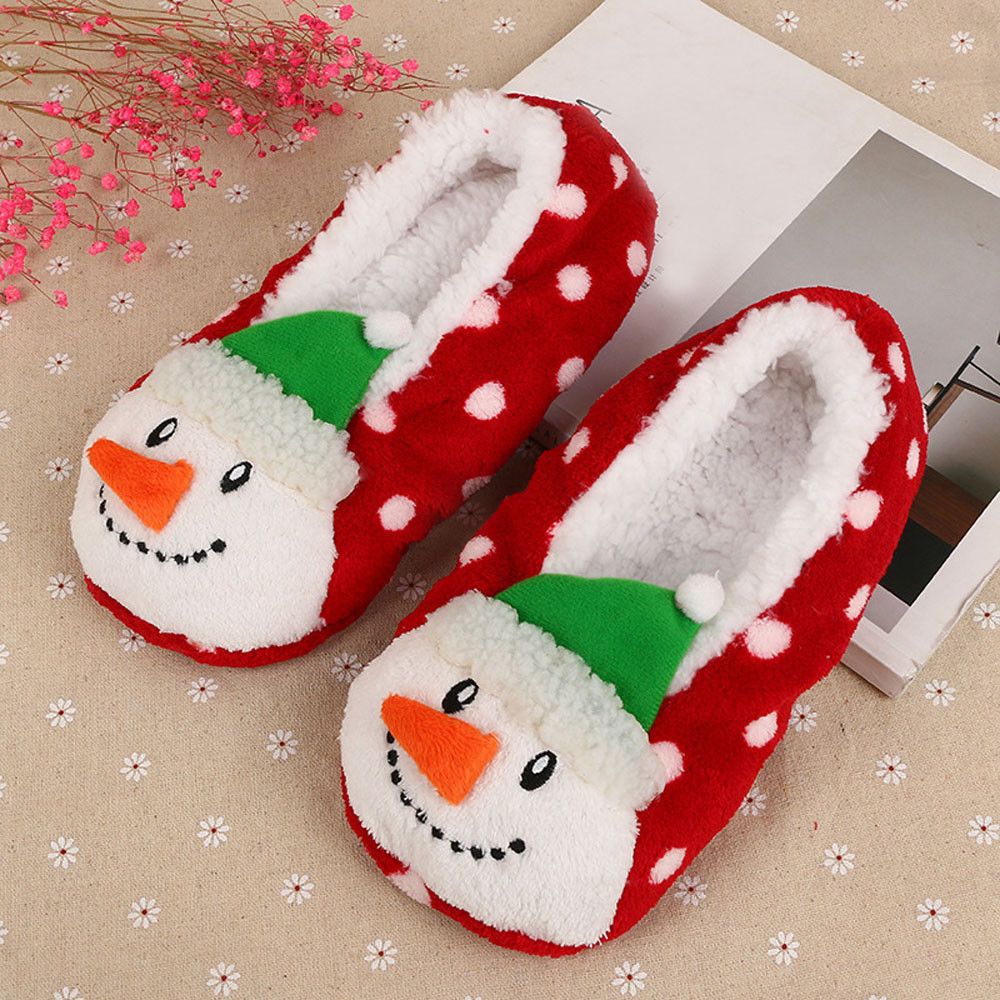 Snowman Unisex Cartoon Winter Cotton House Slippers Flat Indoor Slip on Shoes Slippers