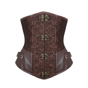 Image 1 - Burvogue Waist Control Steampunk Corsets and Bustiers Leather Corsets Sexy Women Gothic Underbust Corselet Steel Boned Corsets