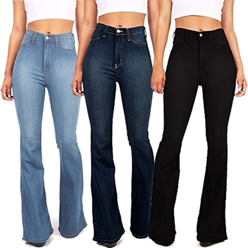 Plus Size S-5XL Bell Bottom Jeans Woman Denim Vintage High Waist Flare Mom Jeans Ladies Floor Length Jean Pants Fall Winter
