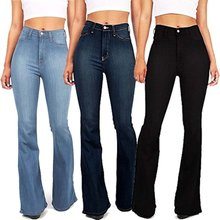 Plus Größe S-5XL Bell-Bottom Jeans Frau Denim Vintage Hohe Taille Flare Mom Jeans Damen Bodenlangen Jean Hosen Herbst winter(China)