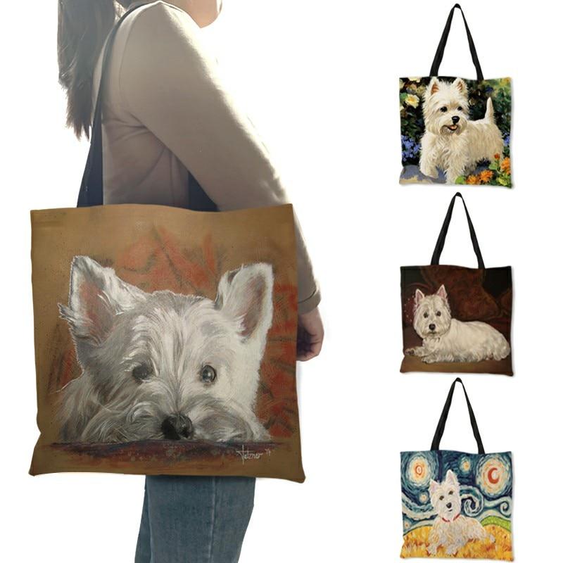 Уникальный дизайн собака Westie картина сумки из натуральной кожи для Для женщин сумки для покупок и поездок большой Ёмкость эко Льняная сумка...