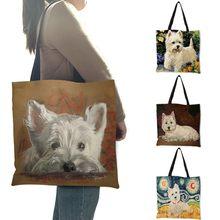 Design original westie cão pintura bolsa para as mulheres sacos de viagem de compras grande capacidade eco linho tote saco dropshipping
