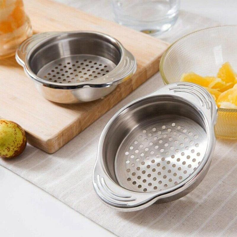 1piece Stainless Steel Drainer Food Tank Water With Ear Cans Sieve Sieve Tuna Gland Oil Drain Kitchen Gadget image