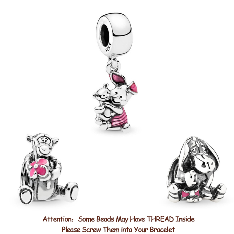 New Original 925 Sterling Silver Bead Tigger Eeyore Piglet Winnie Bear Dangle Charm Fit Pandora Bracelets Women Diy Jewelry(China)