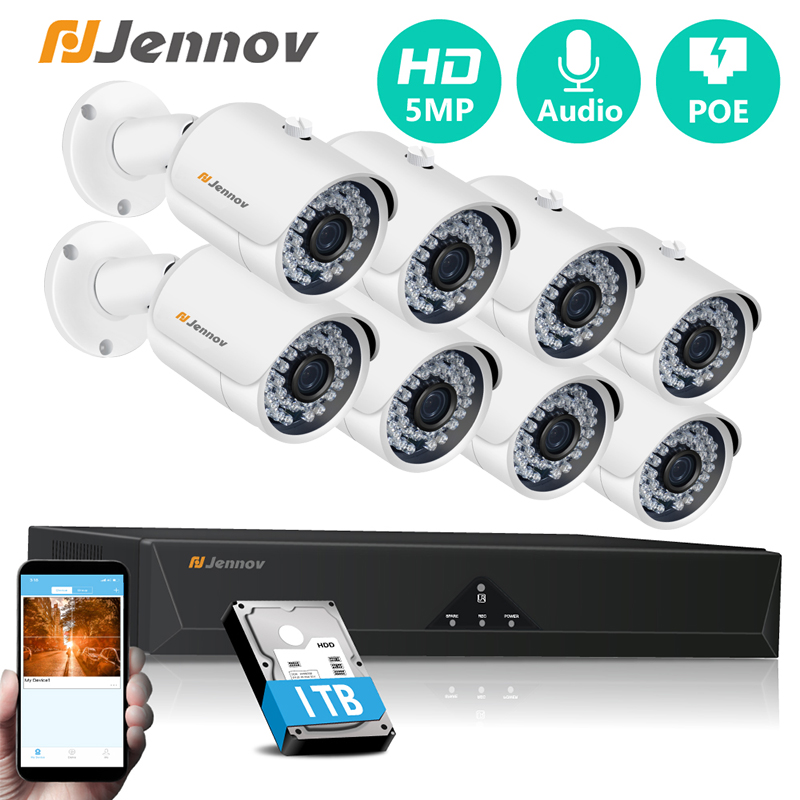 Jennov 4ch 5MP POE Kit H.265 System CCTV Security NVR Outdoor Waterproof Audio POE Camera Alarm Video P2P Video Surveillance Set image