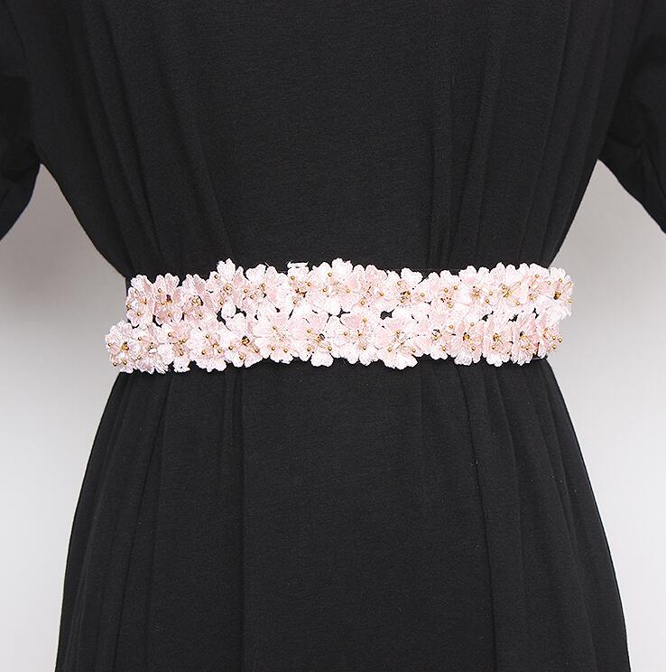 Women's Runway Fashion Flower Beaded Elastic Cummerbunds Female Dress Corsets Waistband Belts Decoration Wide Belt R2841
