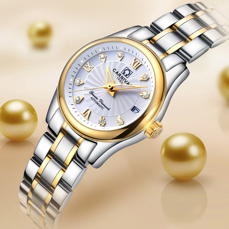 Carnival Switzerland Sapphire Mechanical Women Watches Luxury Brand Full Steel Ladies Waterproof Automatic Watch Women Kol Saati
