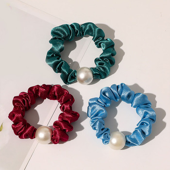 Crystal Satin Hair Rope Elastic Hair Rubber Bands Ponytail Holder Candy Color Hair Ties Big Pearl Scrunchies Hair Accessories image