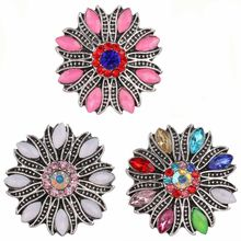 5pcs/lot New 18mm Snap Button Jewelry Crystal Rhinestone Flower Snap Buttons Fit Snap Bracelet Interchangeable Jewelry(China)