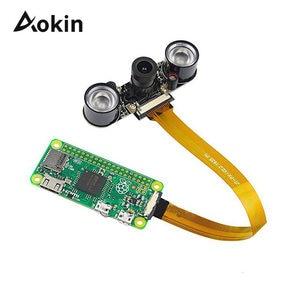 Широкоугольная камера 5 Мп с ночным видением, 1080p веб-камера, 2 инфракрасных светодиода, светильник 16 см, Кабель Fcc для Raspberry Pi Zero и Zero W