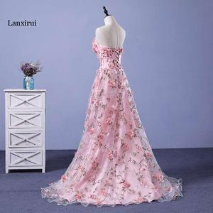 Image 2 - Lanxirui pembe çiçekler elbiseler uzun straplez sevgiliye vestido de formatura longo gece elbisesi parti cadılar bayramı