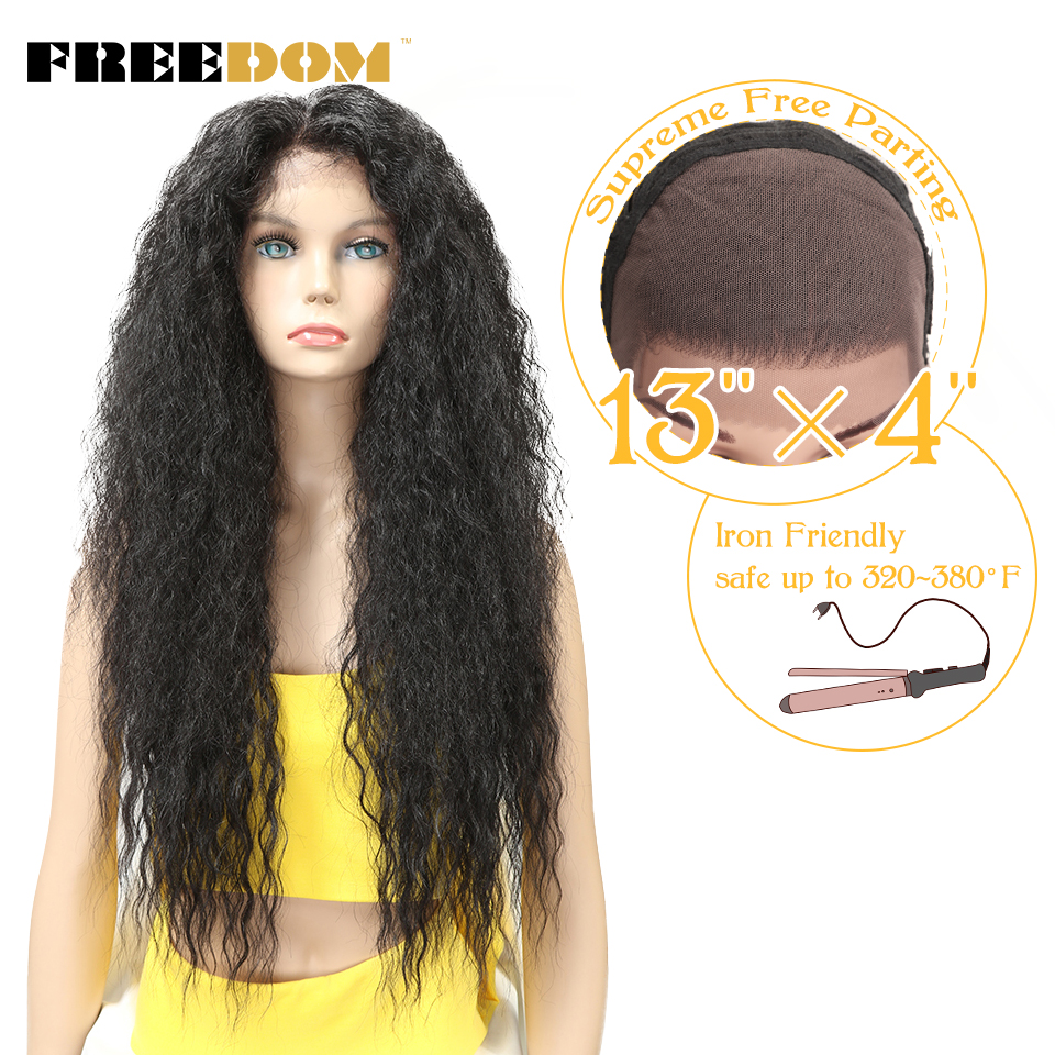 """FREEDOM Kinky Curly 30"""" Long Ombre Lace Front Wig With Baby Hair Natural Hairline Heat Resistant Synthetic Hair Wigs For Women"""