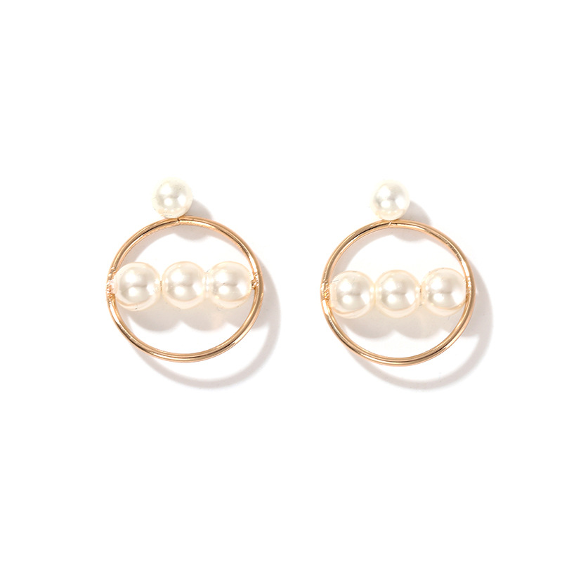 2020 Spring Summer Jewelry Earrings Girls Gold Creative Geometric Circle Round Elegant Pearl Hanging Earrings Gifts For Women