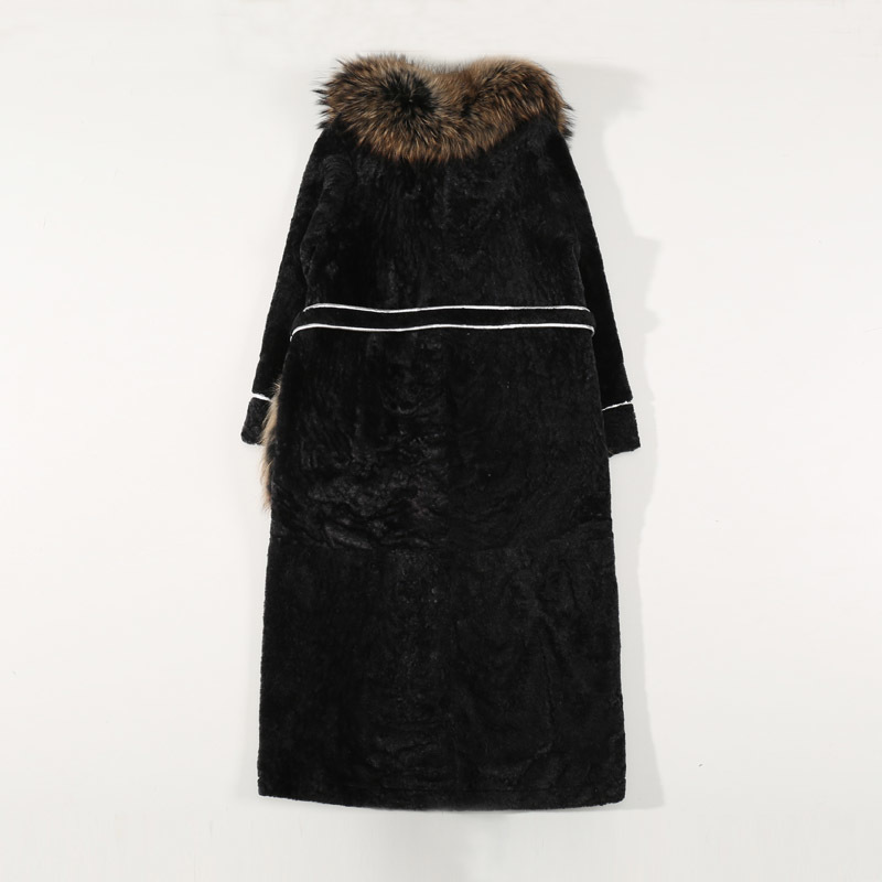 Real Fox Collar Women Plus Size Double Faced Shearling Genuine Leather Liner Long Winter Coat Natural Fur