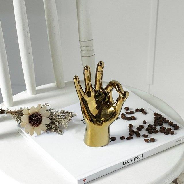 VILEAD Golden Porcelain Gesture Finger Figurines Modern Ornaments Home Room Decoration Desktop Statue Gifts 6