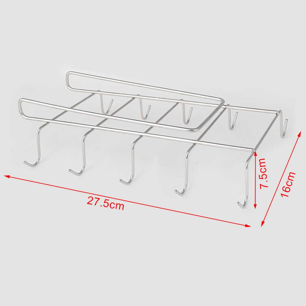 10 フックステンレス鋼のキッチン食器棚タンブラーホルダーコーヒーティーカップマグホルダー棚 insetting ためのカップホルダー