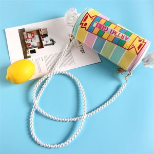 Image 2 - Sweet Candy Design Embroidered Letters Color Stripe Pu Ladies Clutch Bag Shoulder Bag Casual Totes Crossbody Mini Messenger Bag