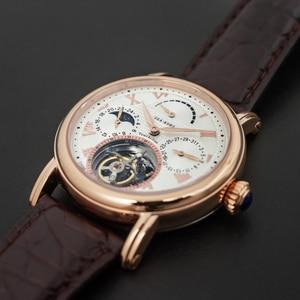 Image 4 - יוקרה עסקי Tourbillon שעונים גברים לוח שנה ספיר חיוג Mens ST8007 Tourbillon מכאני שעוני יד ירח שלב