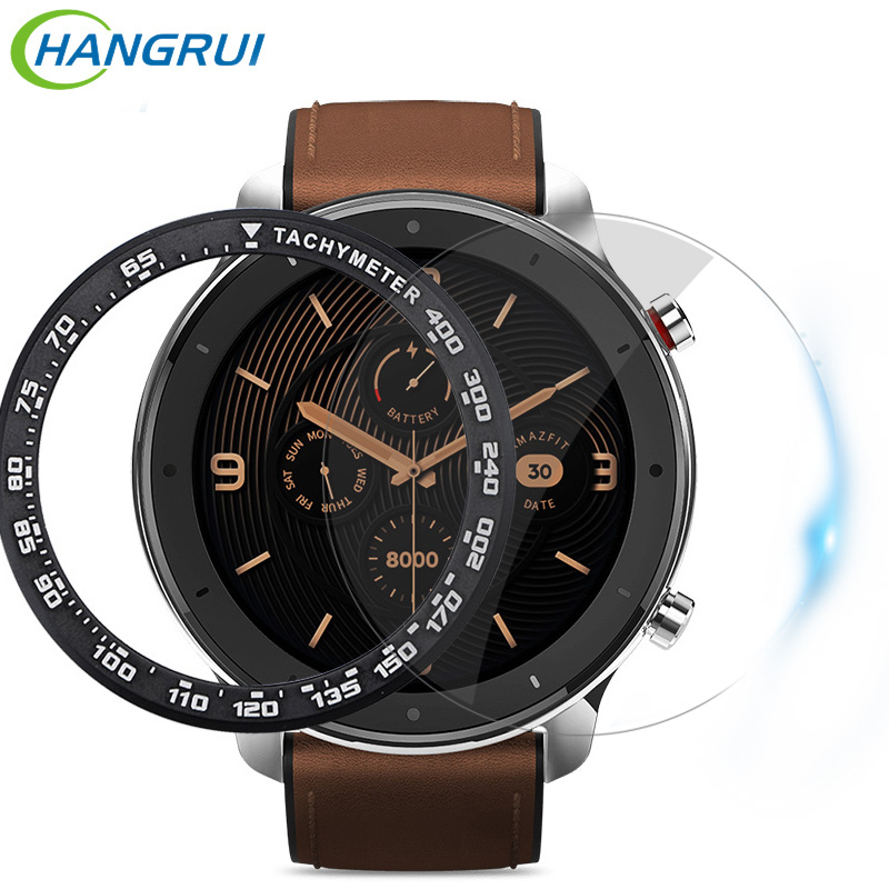For Amazfit GTR 47MM Case Stainless Steel Watch Bezel Ring For Amazfit GTR 47MM Speed Tachymeter Tempered glass Protective Cover 1