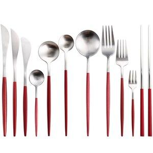 Conjunto de talheres de prata vermelho aristocrático festa de casamento casa restaurante ocidental talheres bife faca garfo colher de café colher de chá conjunto