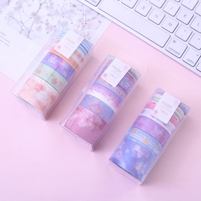 9 Pcs/pack Cherry Sakura Violet Blue Dream Washi Tape Adhesive Tape DIY Scrapbooking Sticker Label Masking Tape