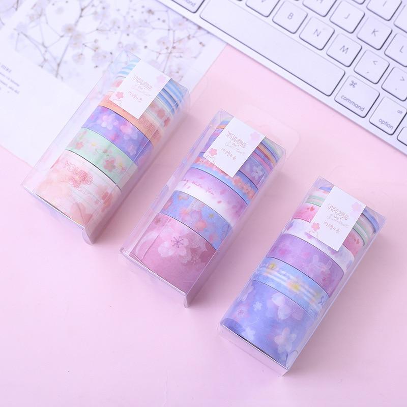 9 Pcs/pack Cherry Sakura Violet Blue Dream Washi Tape Adhesive Tape DIY Scrapbooking Sticker Label Masking Tape