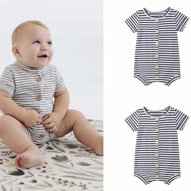 Pelele Casual para recién nacidos, bebés, niños y niñas, mono de algodón de manga corta, ropa de verano, trajes