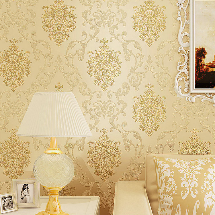 Hot Selling European Style 3D Flocked Non-woven Wallpaper Bedroom Living Room Television Background Wall Gold Luxury Wallpaper