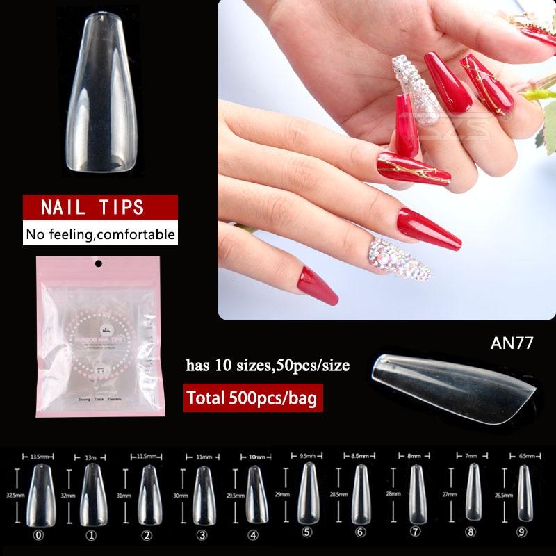1bag/lot newest design 500pcs Transparent long style flat false nail tip trapezoid full cover tips
