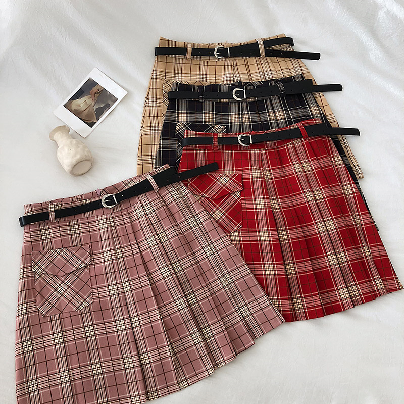 Vintage Ladies A-Line Skirts Preppy Style Casual High Waist Plaid Sashes Skirts Women Fashion Korean Above Knee Pockets Skirts